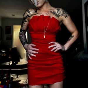 Red Rouched Mini Dress